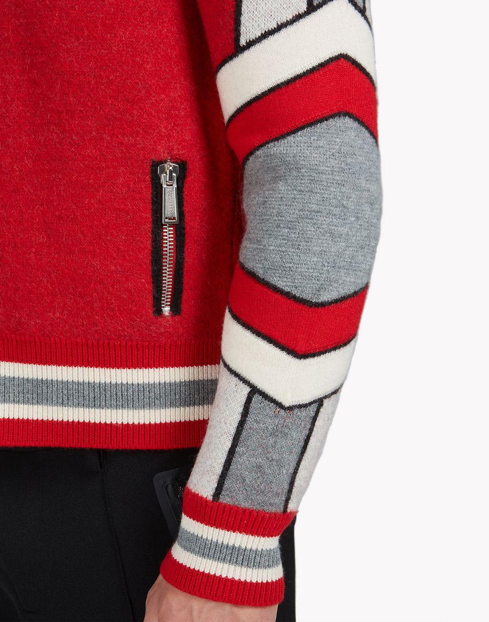 intarsia ski wool zip-up sweater top wear Man Dsquared2