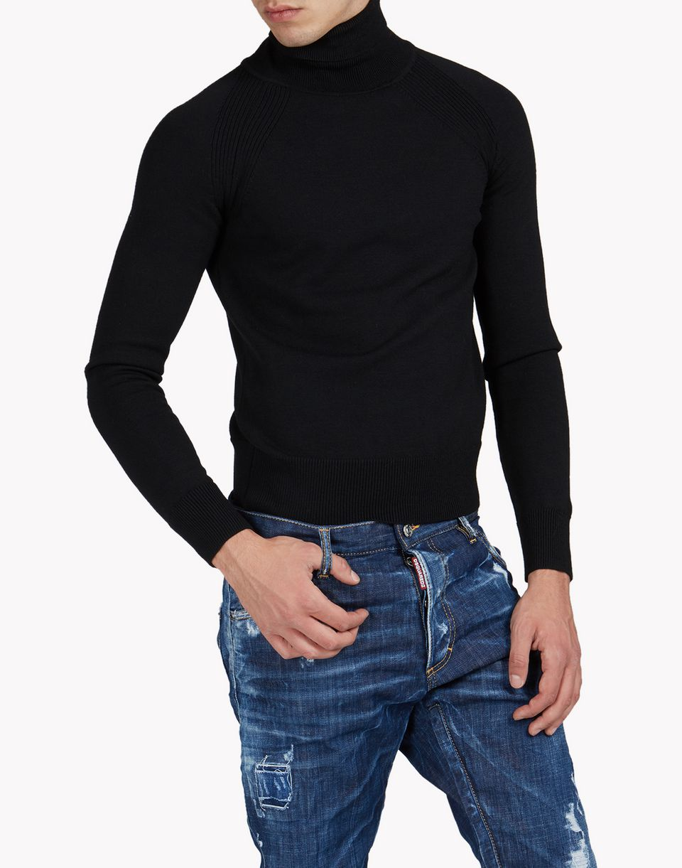 ribbed wool turtleneck pullover tops & tees Man Dsquared2