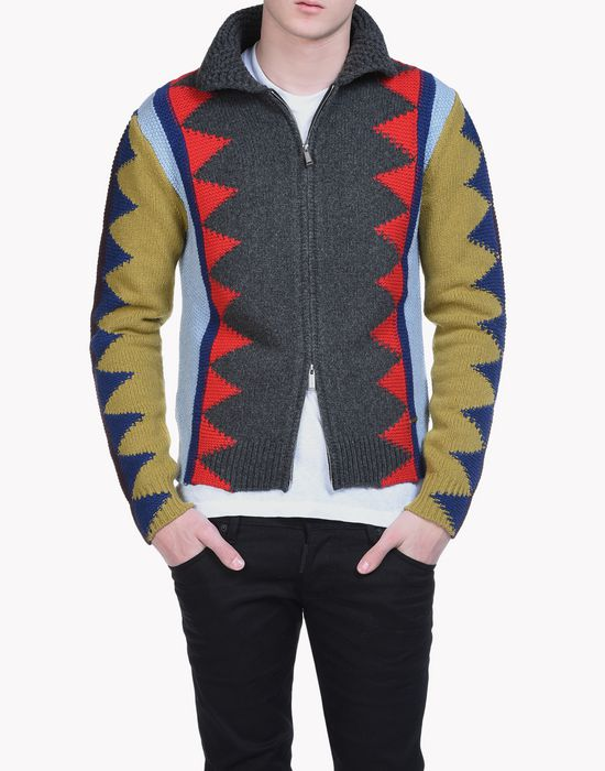 intarsia geometric zip-up sweater tops & tees Man Dsquared2
