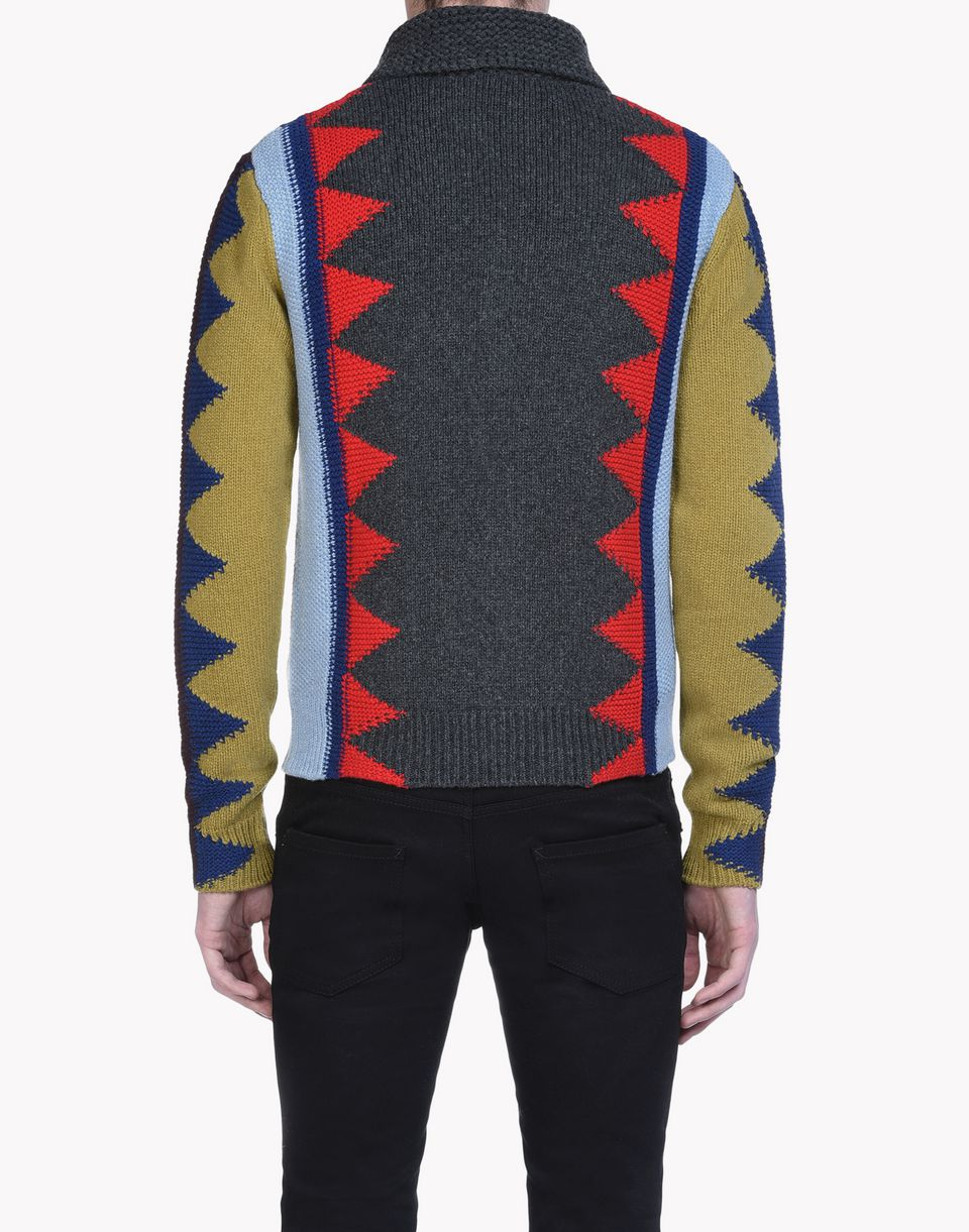 intarsia geometric zip-up sweater top wear Man Dsquared2