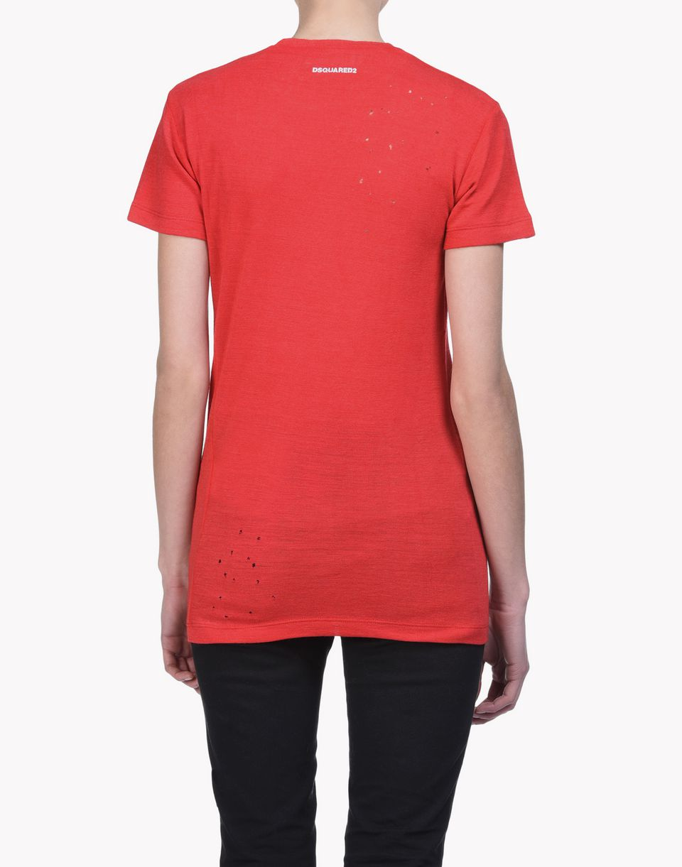 choke long cool twisted t-shirt tops & tees Woman Dsquared2
