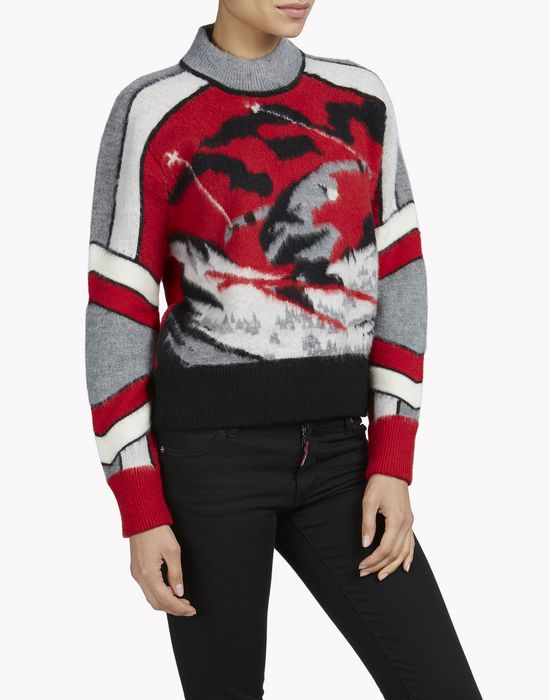 intarsia ski wool pullover top wear Woman Dsquared2