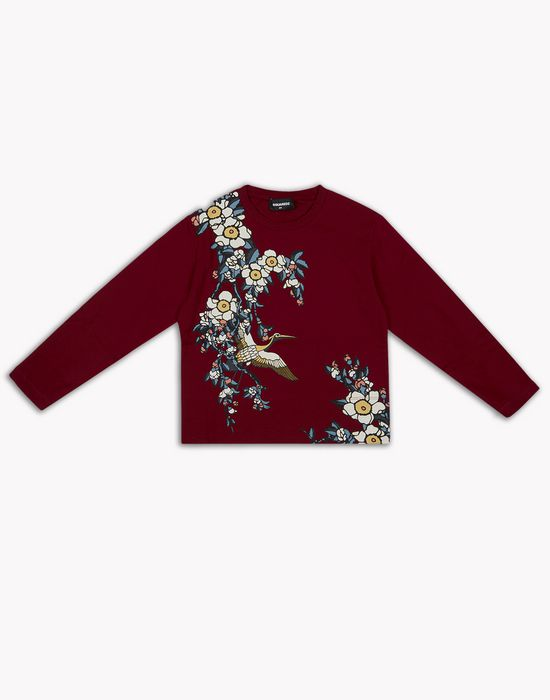 cherry blossom long-sleeve t-shirt tops & tees Woman Dsquared2