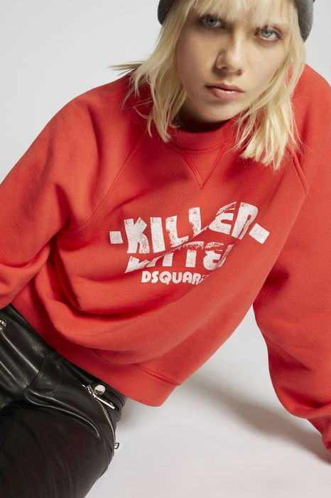 killer kitten long cool sweatshirt top wear Woman Dsquared2