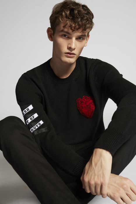 heart patch wool knit pullover tops & tees Man Dsquared2