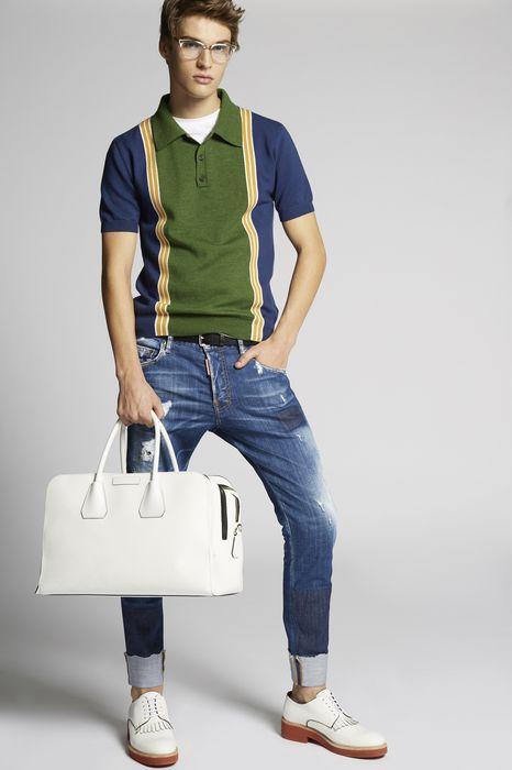 contrast wool knit polo shirt tops & tanktops Herren Dsquared2