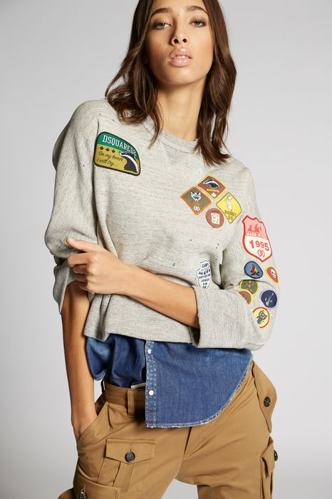 scout patch denim sweatshirt tops & tees Woman Dsquared2
