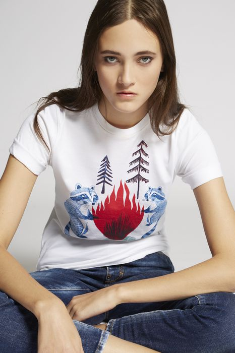 raccons t-shirt tops & tees Woman Dsquared2