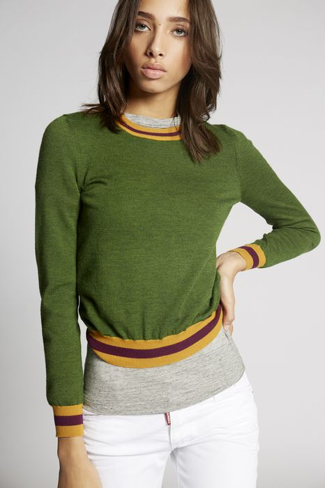 wool contrasted pullover top wear Woman Dsquared2