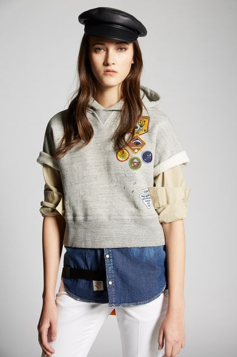 patches scout sweatshirt top wear Woman Dsquared2