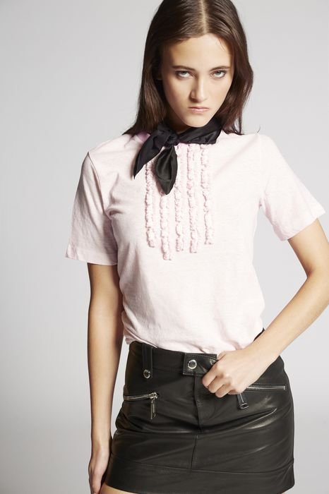 ruffled cotton t-shirt tops & tees Woman Dsquared2