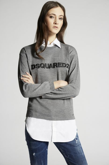 wool contrast fabrics pullover top wear Woman Dsquared2