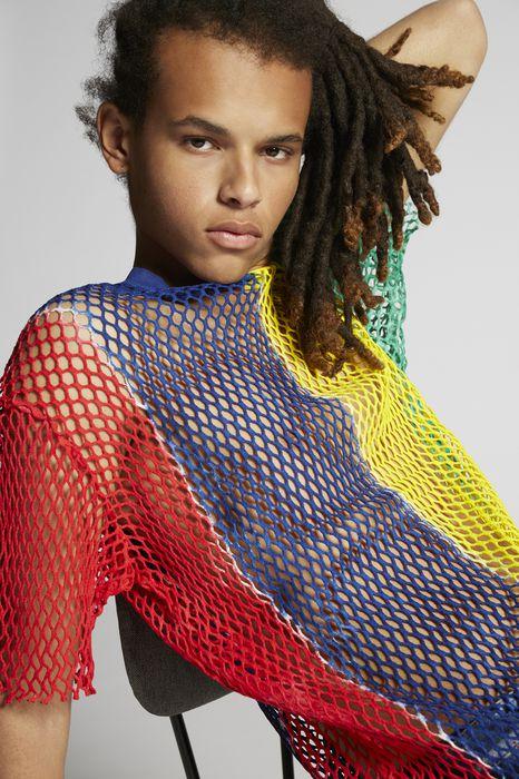 cotton mesh mix colours t-shirt tops & tees Man Dsquared2