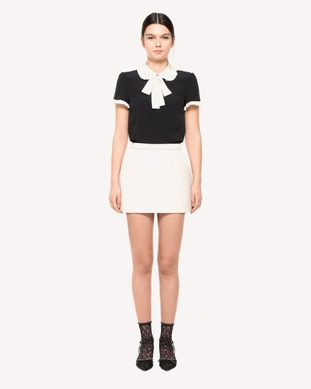 Crepe de Chine Jacquard top with bow