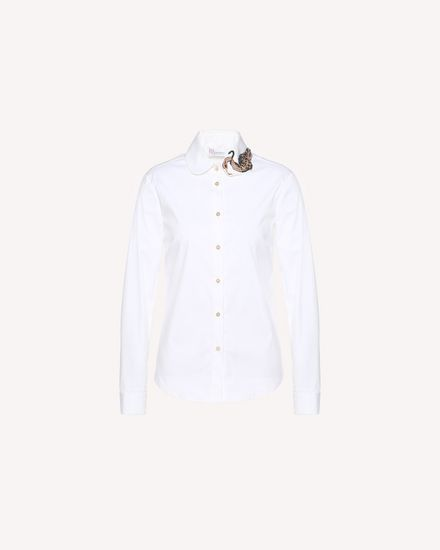 Cotton Poplin shirt with Enchanted Bird patch