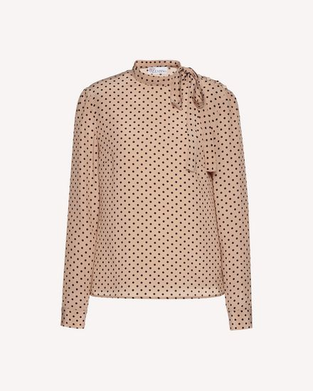Polka dot printed Silk top
