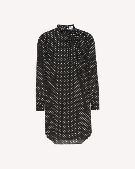 Polka dot printed long Silk top