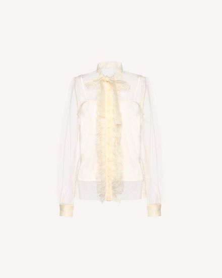 Point d'esprit Tulle shirt with organza details