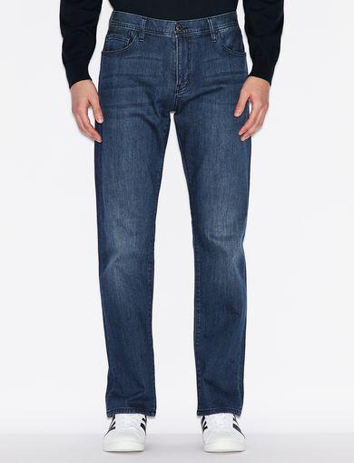 아르마니 익스체인지 Armani Exchange STRAIGHT-LEG FIVE-POCKET JEANS,Blue