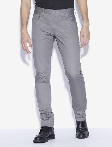 아르마니 익스체인지 Armani Exchange CLASSIC SLIM-FIT TWILL PANTS,Pearl Grey