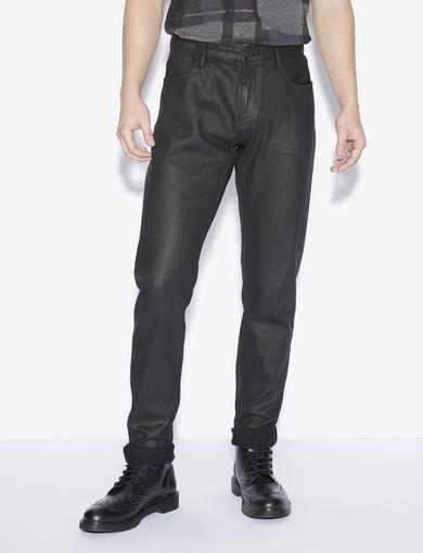 아르마니 익스체인지 Armani Exchange J75 SLIM-FIT COATED BLACK JEAN,Black Denim