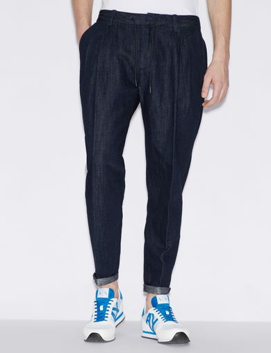 아르마니 익스체인지 Armani Exchange DENIM TROUSERS IN LINEN AND COTTON,Blue