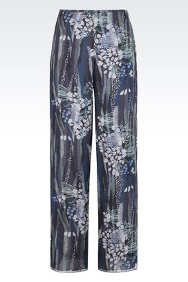 Armani Trousers Women loose pure silk voile trousers