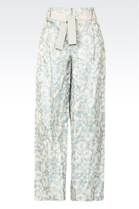 Armani Pantaloni Donna pantaloni palazzo in seta e fibra metallica
