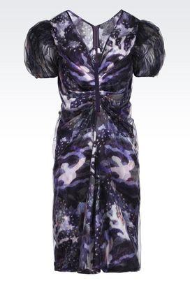 Armani Vestiti Donna abito in raso di seta con maniche in tulle
