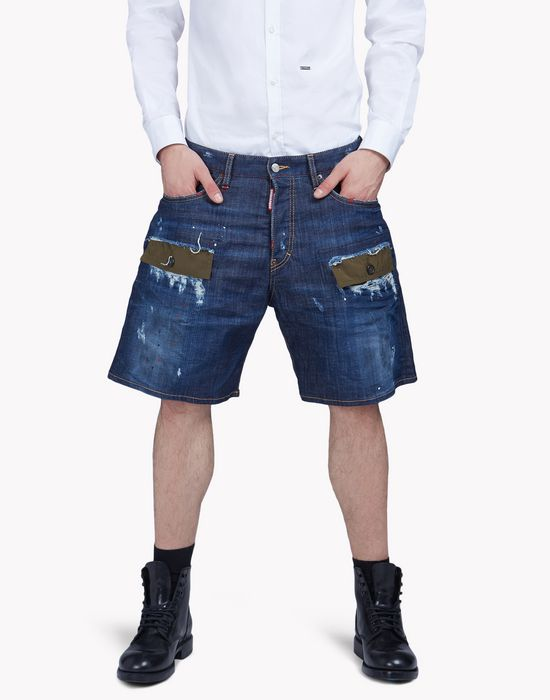 patchwork denim shorts pantalons Homme Dsquared2