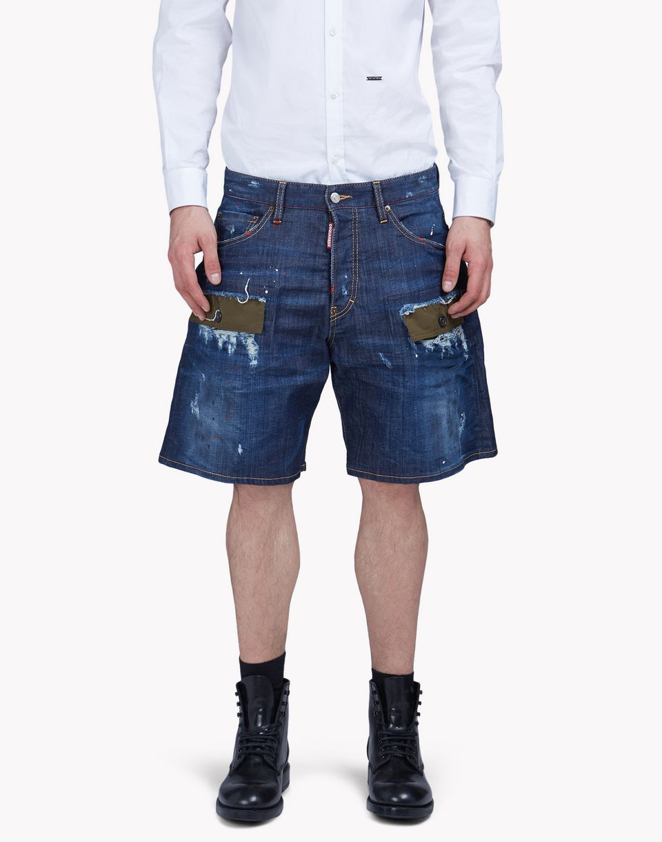 patchwork denim shorts hosen Herren Dsquared2
