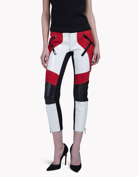 leather neoprene pants pantalones Mujer Dsquared2