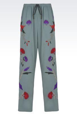 Armani Pantaloni Donna pantaloni ampi in cotone con coulisse e ricami