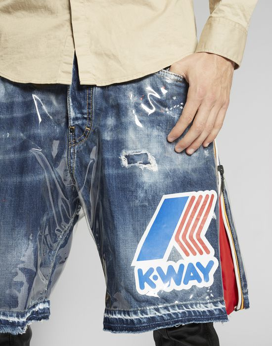 k-way pvc denim shorts pantalones Hombre Dsquared2