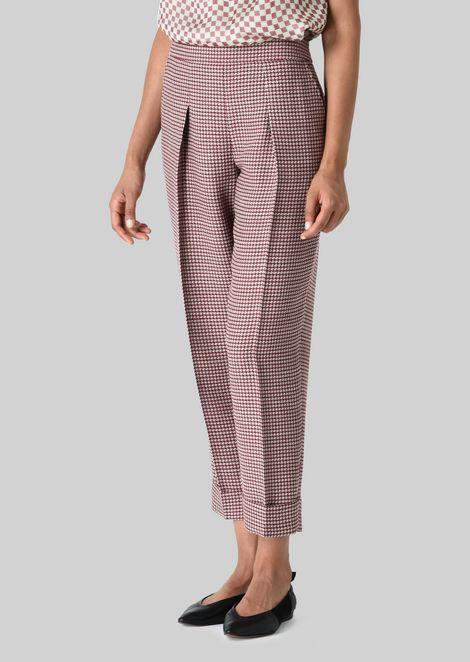 SILK AND WOOL CRÊPE TROUSERS: Pants Women by Armani - 3
