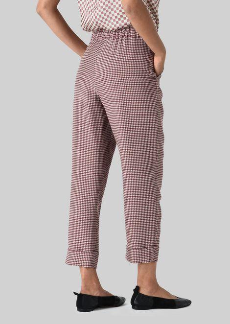 SILK AND WOOL CRÊPE TROUSERS: Pants Women by Armani - 4