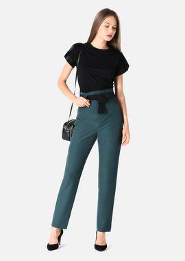 Armani Casual Pants Women stretch gabardine trousers with decorative belt
