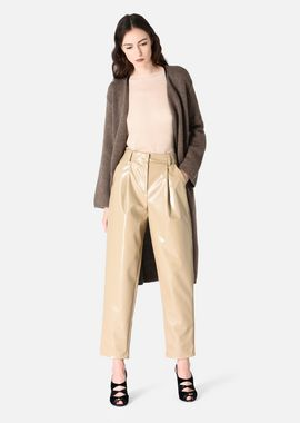 Armani Casual Pants Women vinyl trousers with darts