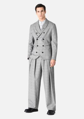 Armani Casual Pants Men pleated prince of wales wool trousers
