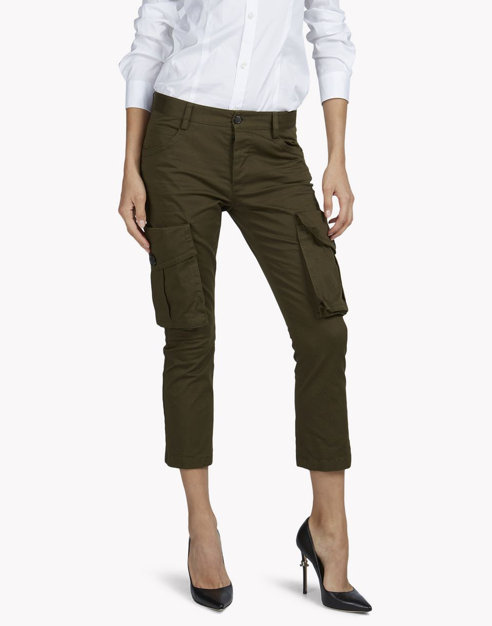 sexy cropped flare cargo pants trousers Woman Dsquared2