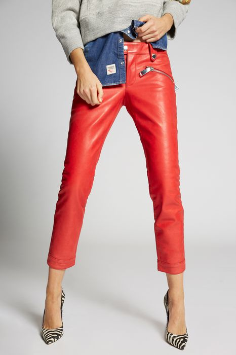 zip pockets cool girl leather pants trousers Woman Dsquared2