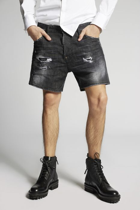 black buchi squared crotch denim shorts pants Man Dsquared2