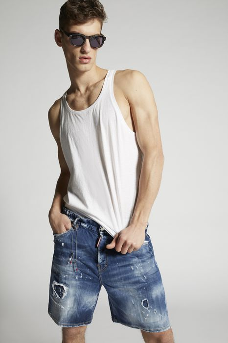 white ripped marine denim shorts trousers Man Dsquared2