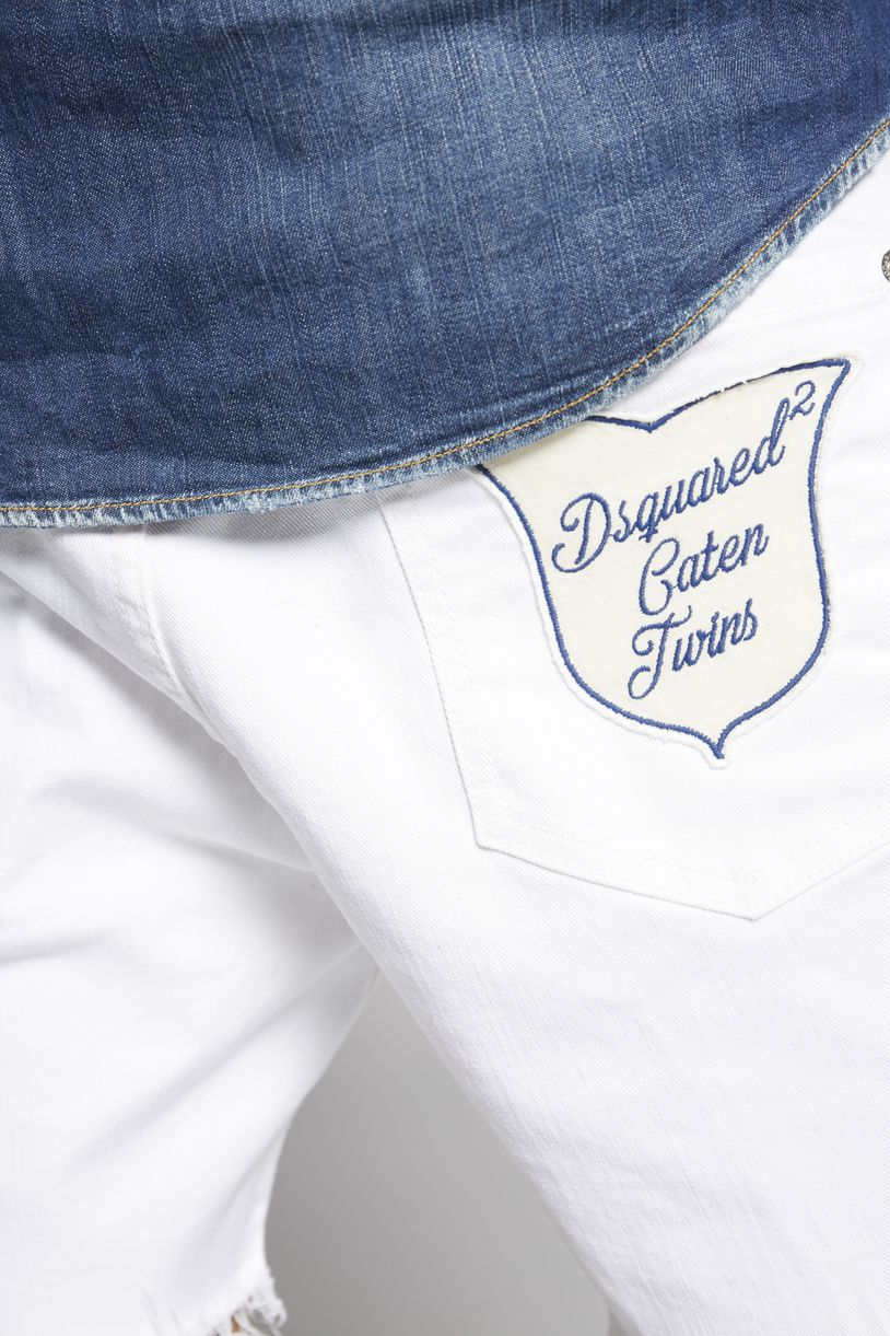 white bull square crotch shorts trousers Man Dsquared2