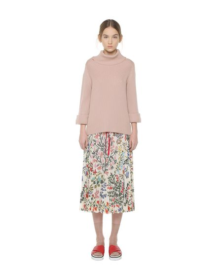 Flowers and Leaves printed Marocain pleated skirt