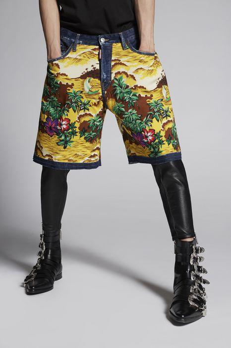 hawaiiana boxer denim shorts pants Man Dsquared2