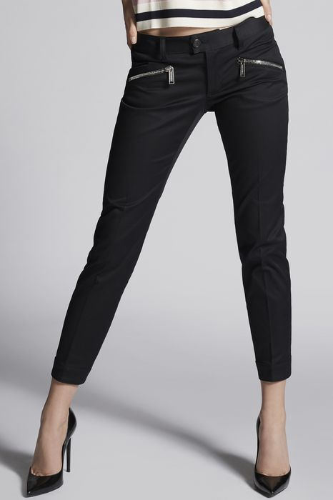 stretch twill cotton biker pants trousers Woman Dsquared2