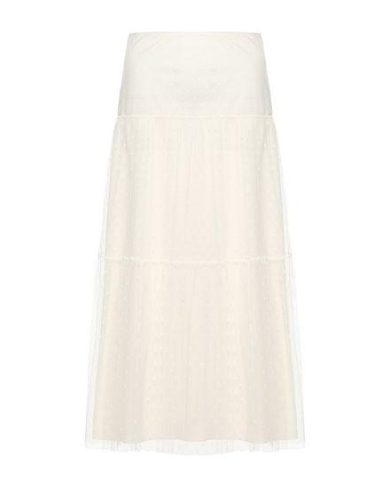 细点网眼薄纱褶边半裙