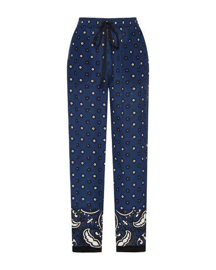 Bandana-print fluid silk pants