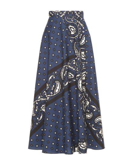 Wrap-effect bandana-print cotton poplin skirt